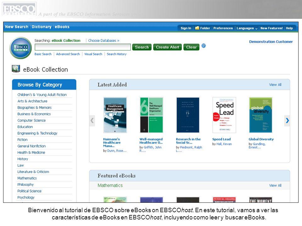 Bienvenido al tutorial de EBSCO sobre eBooks on EBSCOhost