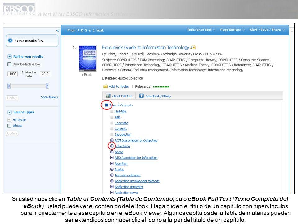 Si usted hace clic en Table of Contents (Tabla de Contenido) bajo eBook Full Text (Texto Completo del eBook) usted puede ver el contenido del eBook.