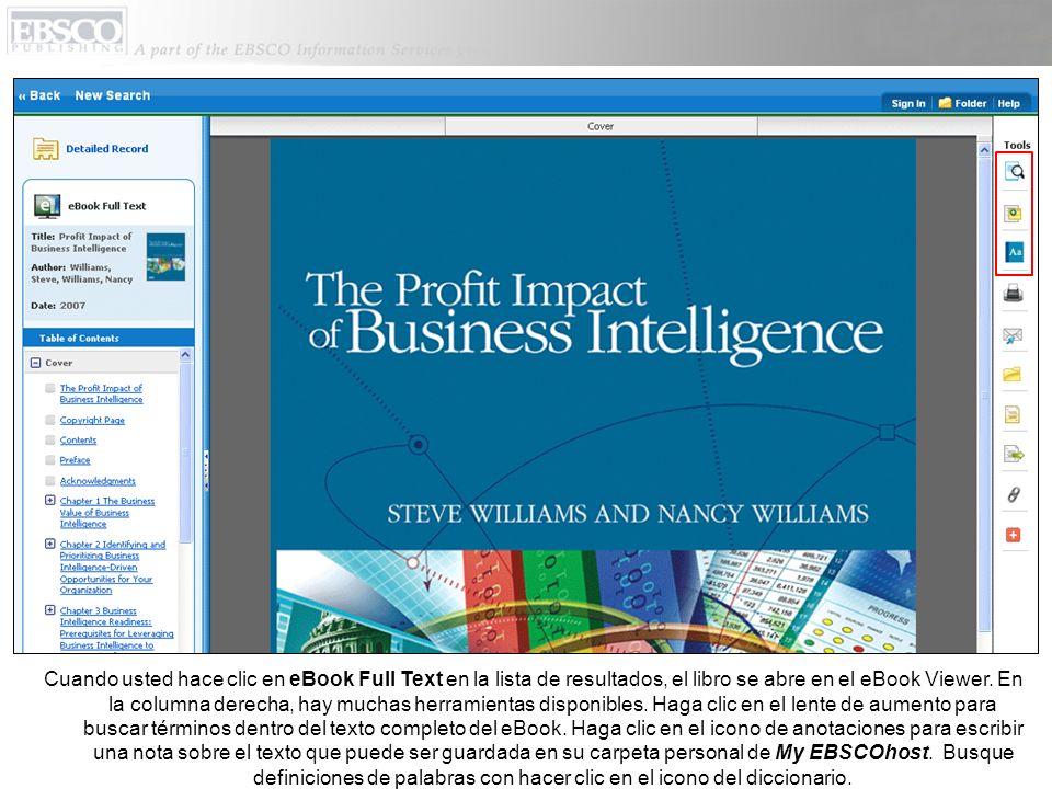 Cuando usted hace clic en eBook Full Text en la lista de resultados, el libro se abre en el eBook Viewer.