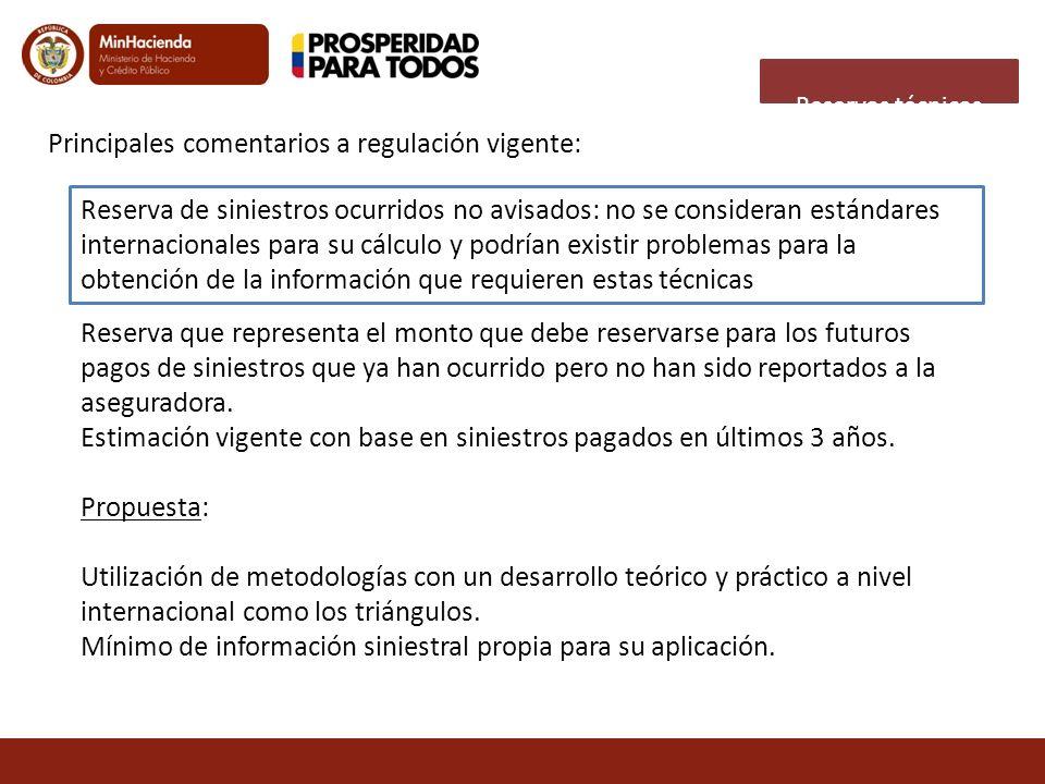 Principales comentarios a regulación vigente:
