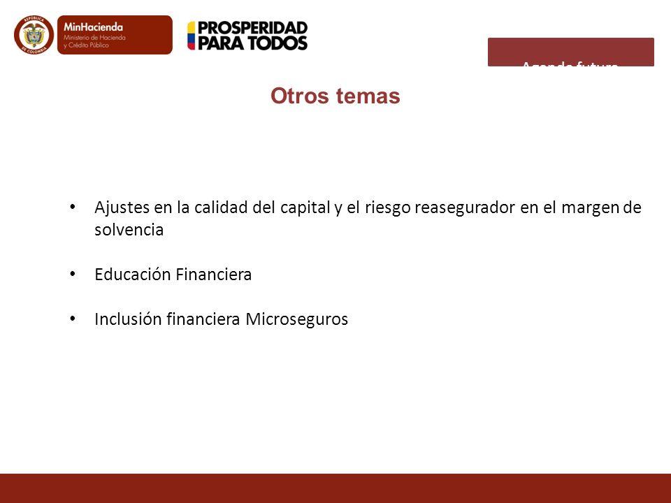 Agenda futura Otros temas. Ajustes en la calidad del capital y el riesgo reasegurador en el margen de solvencia.