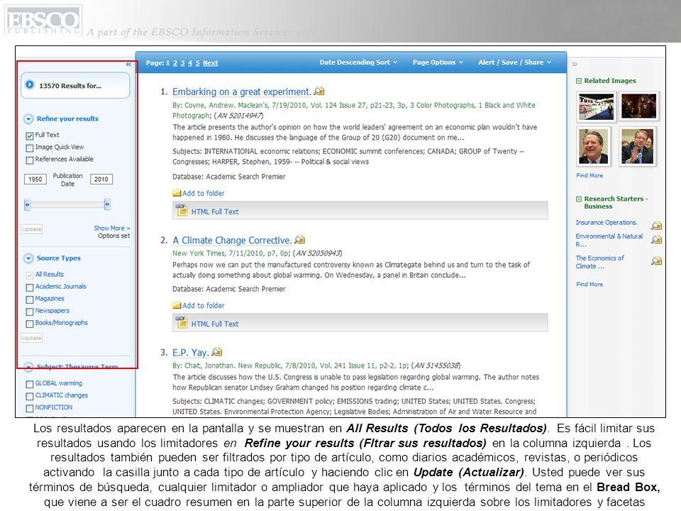 Los resultados aparecen en la pantalla y se muestran en All Results (Todos los Resultados).