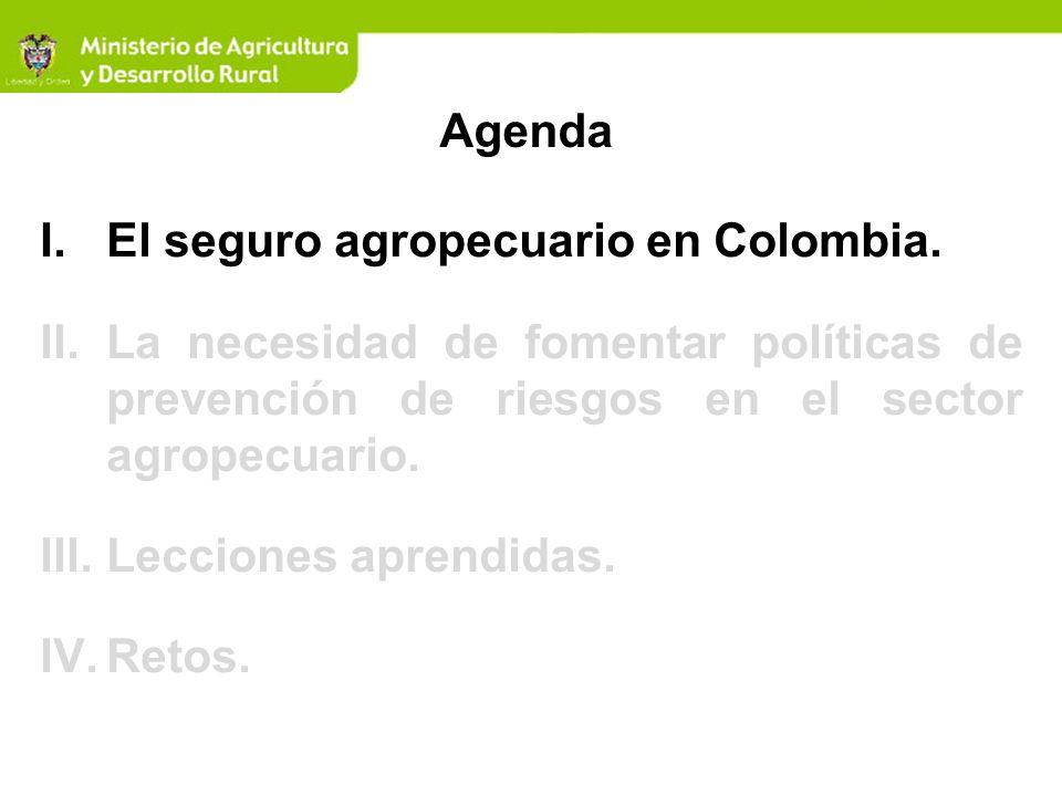 Agenda El seguro agropecuario en Colombia. La necesidad de fomentar políticas de prevención de riesgos en el sector agropecuario.