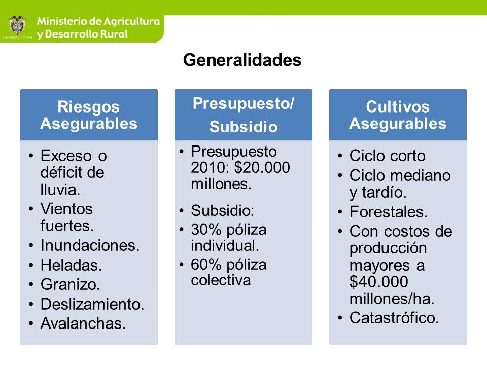 Generalidades Presupuesto 2010: $20.000 millones. Subsidio:
