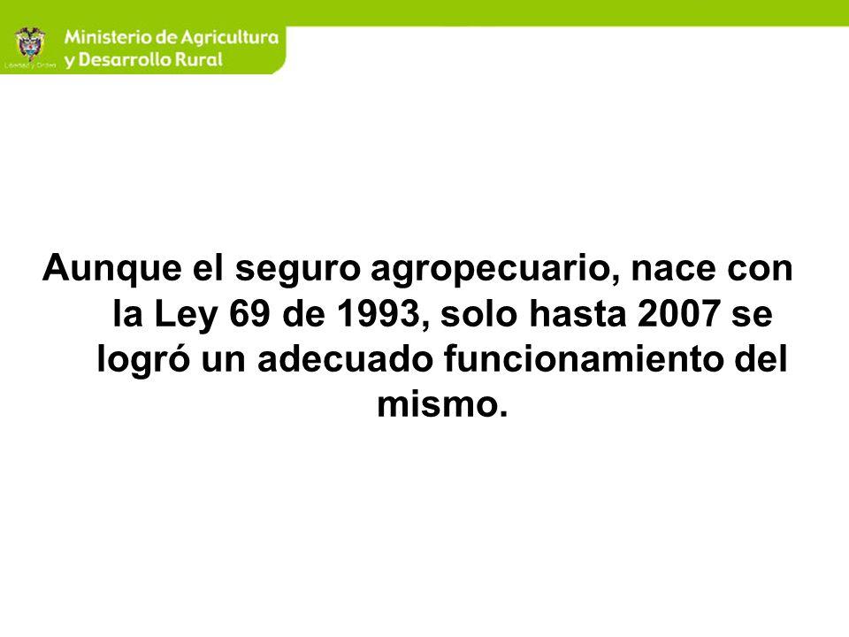 Aunque el seguro agropecuario, nace con la Ley 69 de 1993, solo hasta 2007 se logró un adecuado funcionamiento del mismo.