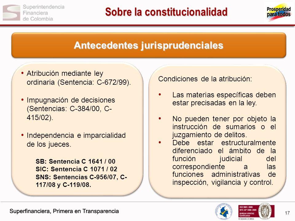 Sobre la constitucionalidad Antecedentes jurisprudenciales
