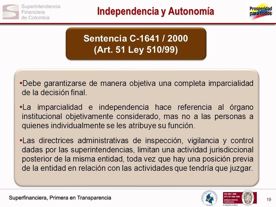 Independencia y Autonomía Sentencia C-1641 / 2000 (Art. 51 Ley 510/99)
