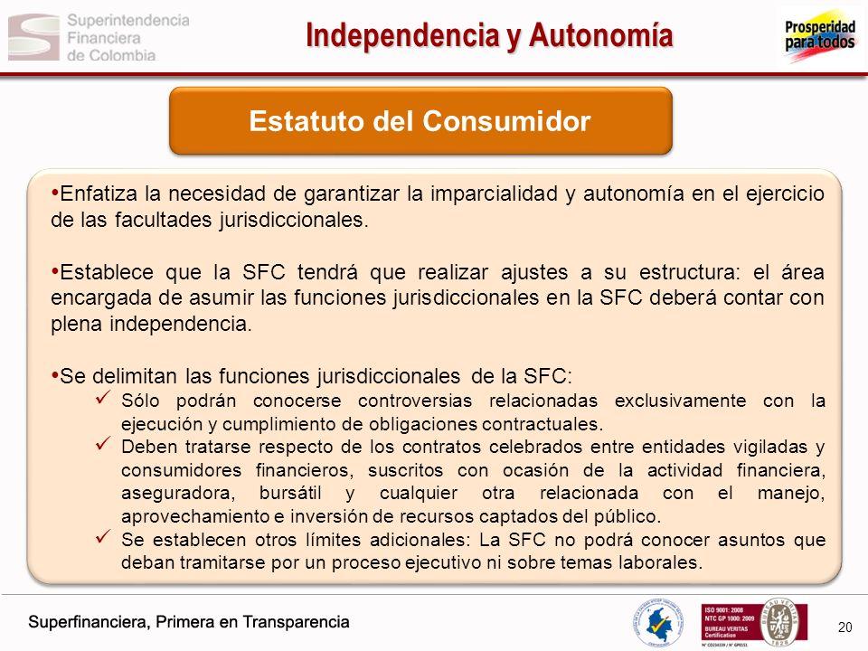 Independencia y Autonomía Estatuto del Consumidor