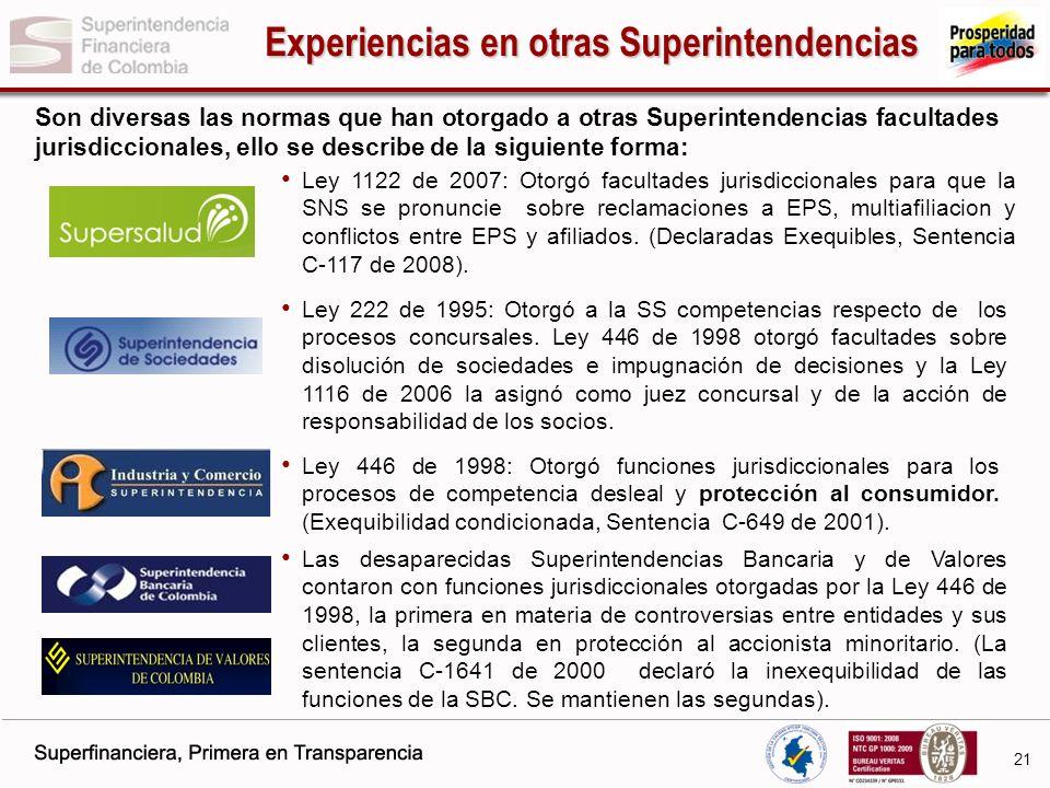 Experiencias en otras Superintendencias