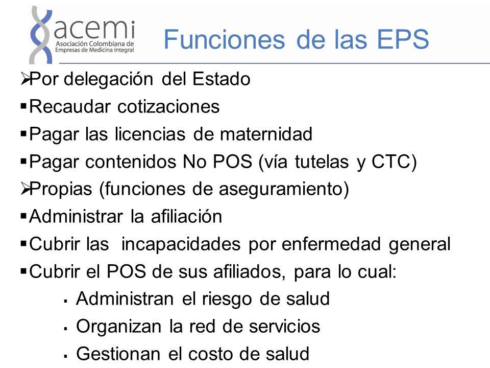 Funciones de las EPS Por delegación del Estado Recaudar cotizaciones