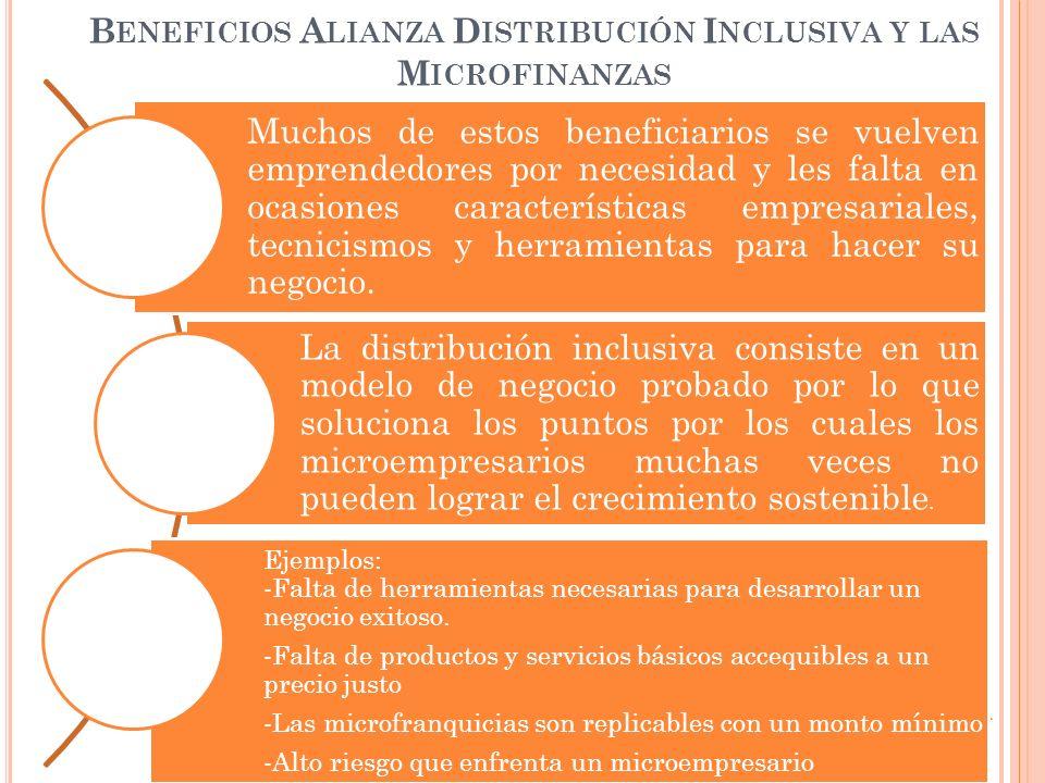 Beneficios Alianza Distribución Inclusiva y las Microfinanzas
