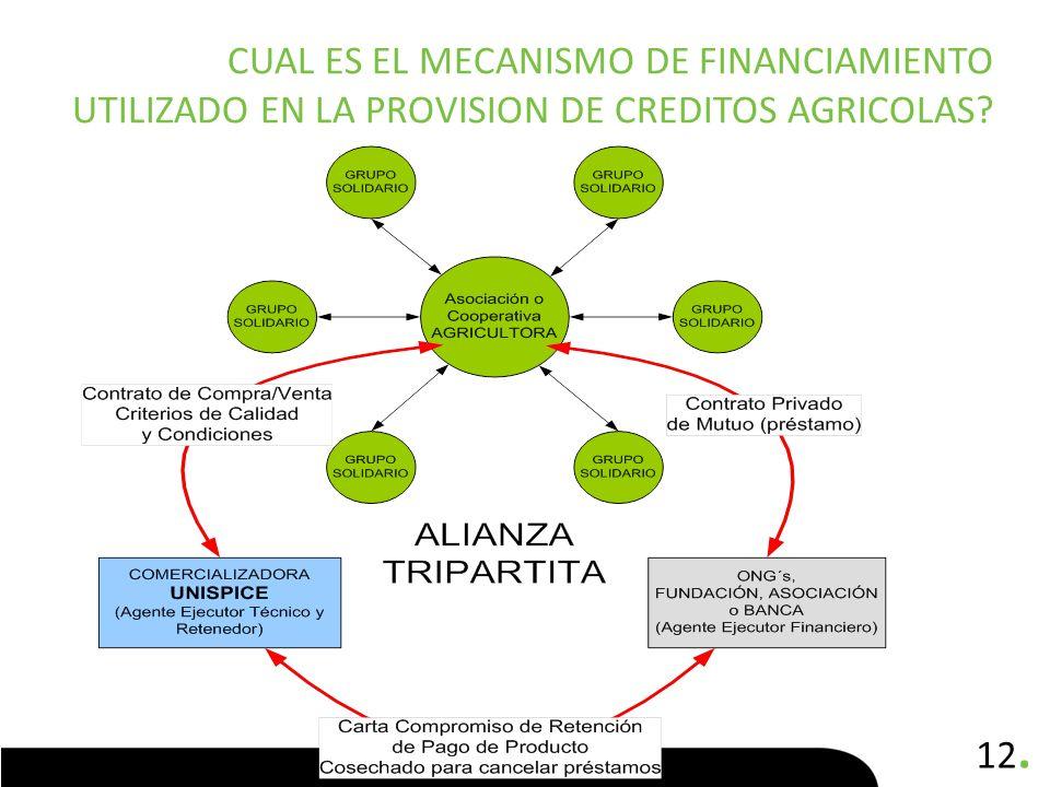 Cual es el mecanismo de financiamiento utilizado en la provision de creditos agricolas