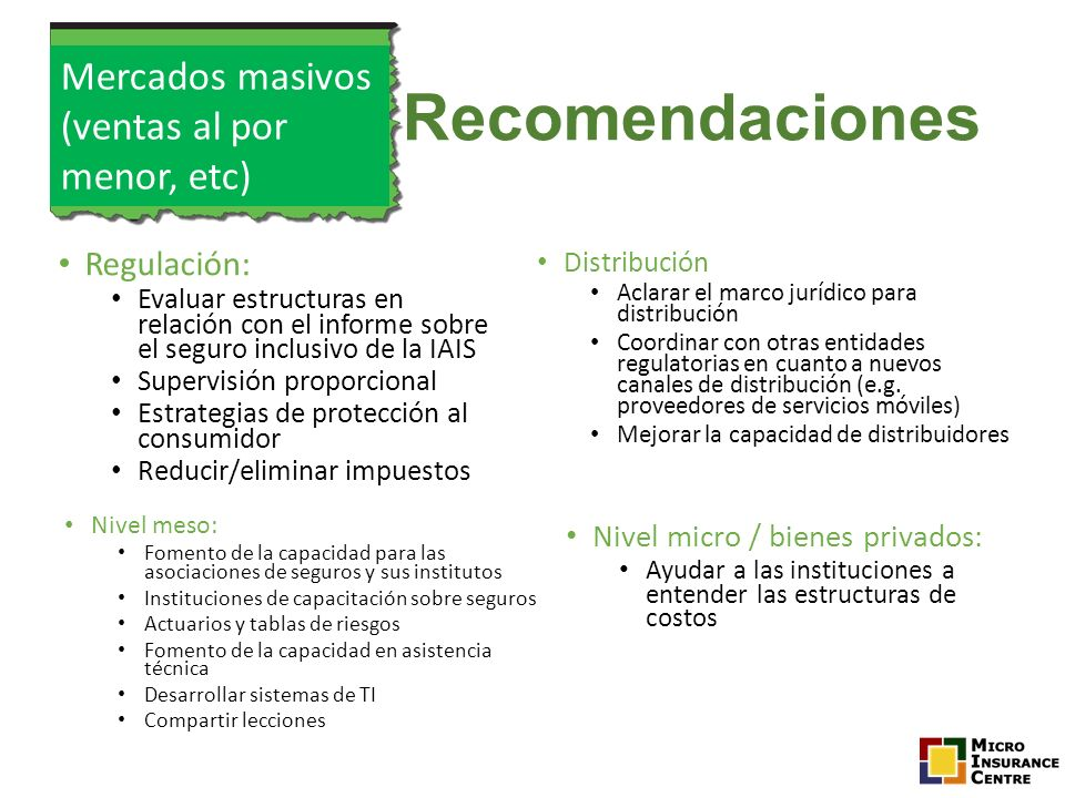 Recomendaciones Mercados masivos (ventas al por menor, etc)
