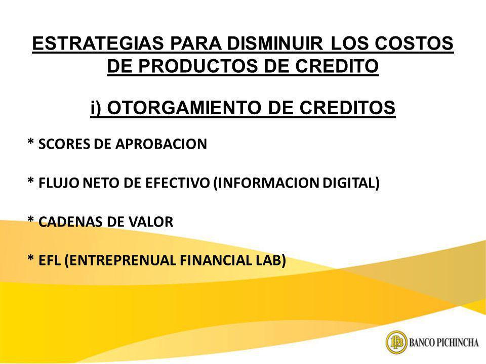 ESTRATEGIAS PARA DISMINUIR LOS COSTOS DE PRODUCTOS DE CREDITO