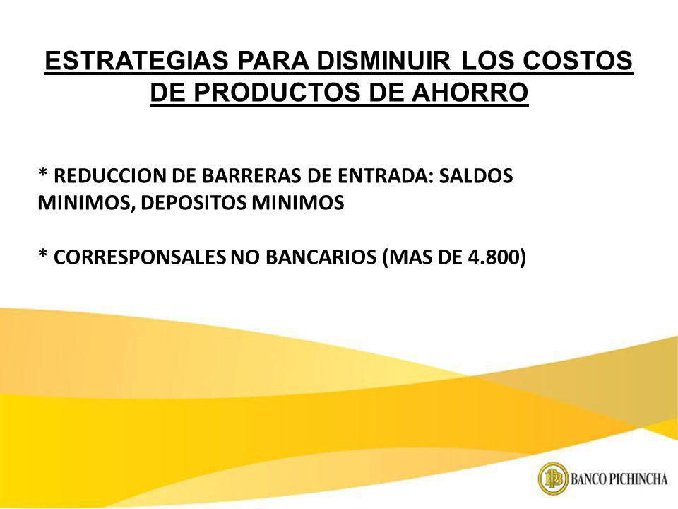 ESTRATEGIAS PARA DISMINUIR LOS COSTOS DE PRODUCTOS DE AHORRO