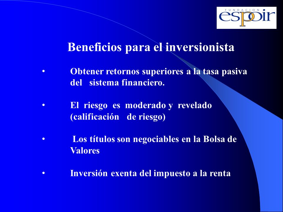 Beneficios para el inversionista