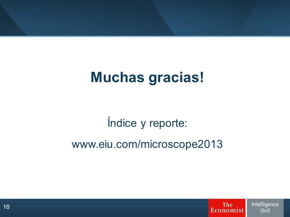 Muchas gracias! Índice y reporte: www.eiu.com/microscope2013 10