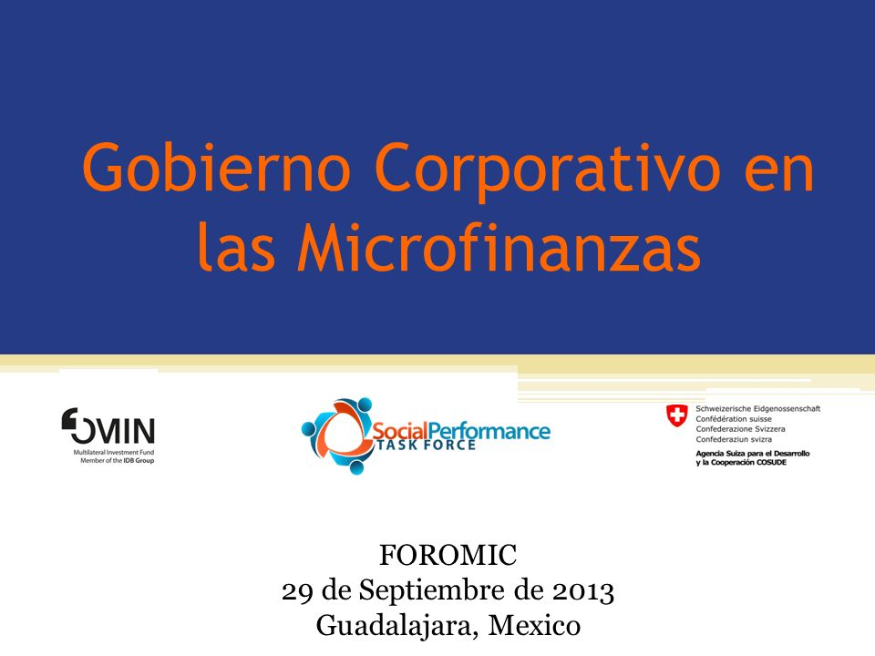 Gobierno Corporativo en las Microfinanzas