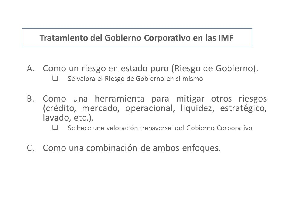 Tratamiento del Gobierno Corporativo en las IMF