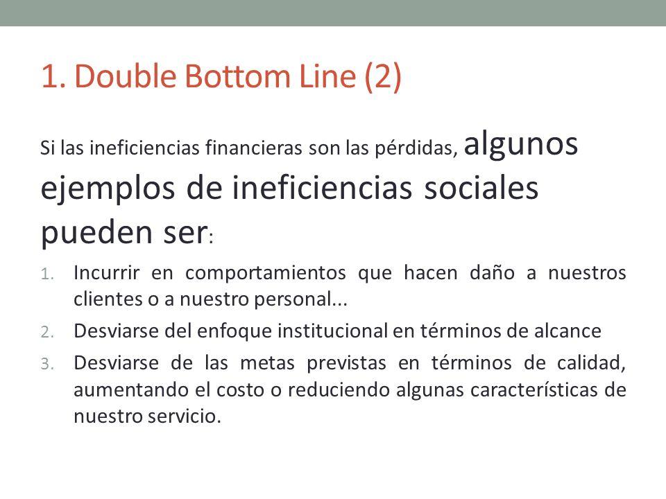1. Double Bottom Line (2) Si las ineficiencias financieras son las pérdidas, algunos ejemplos de ineficiencias sociales pueden ser: