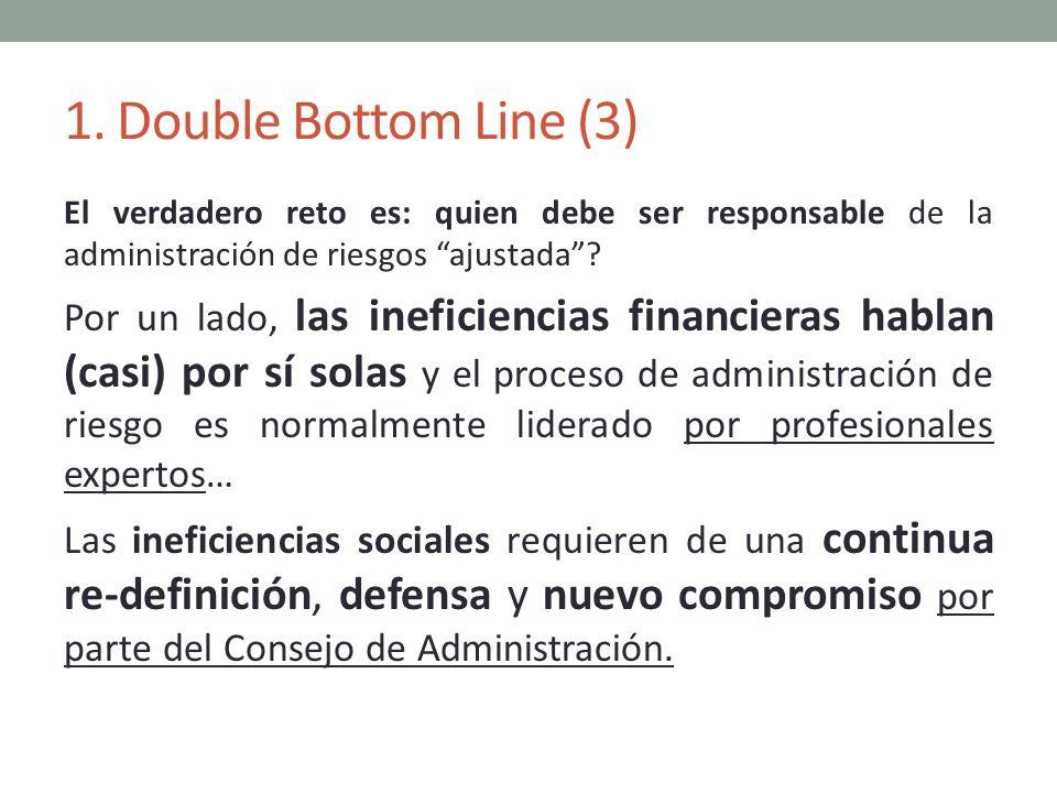 1. Double Bottom Line (3) El verdadero reto es: quien debe ser responsable de la administración de riesgos ajustada