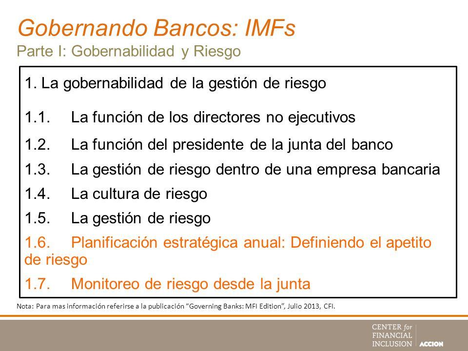 Gobernando Bancos: IMFs Parte I: Gobernabilidad y Riesgo