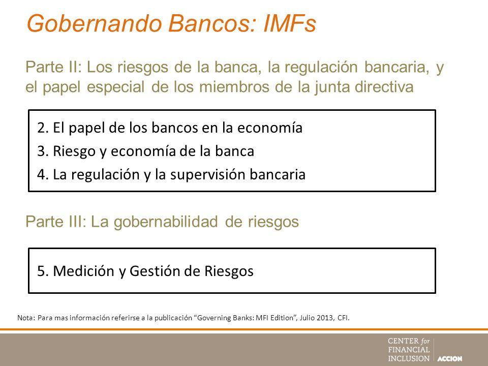 Gobernando Bancos: IMFs Parte II: Los riesgos de la banca, la regulación bancaria, y el papel especial de los miembros de la junta directiva