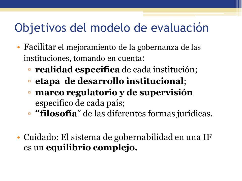 Objetivos del modelo de evaluación