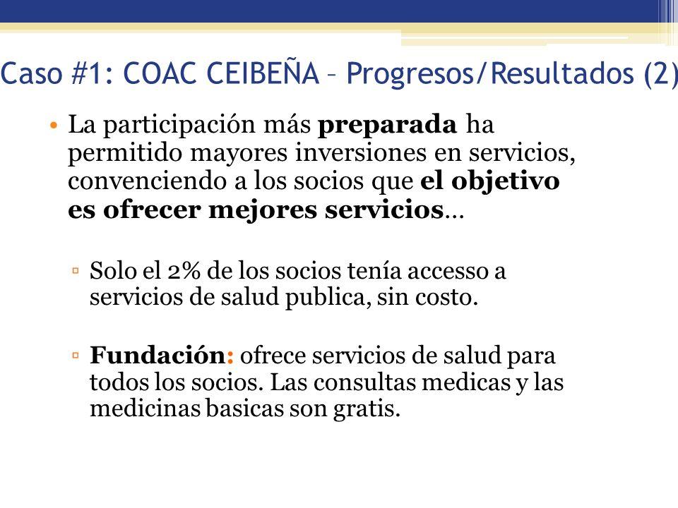 Caso #1: COAC CEIBEÑA – Progresos/Resultados (2)