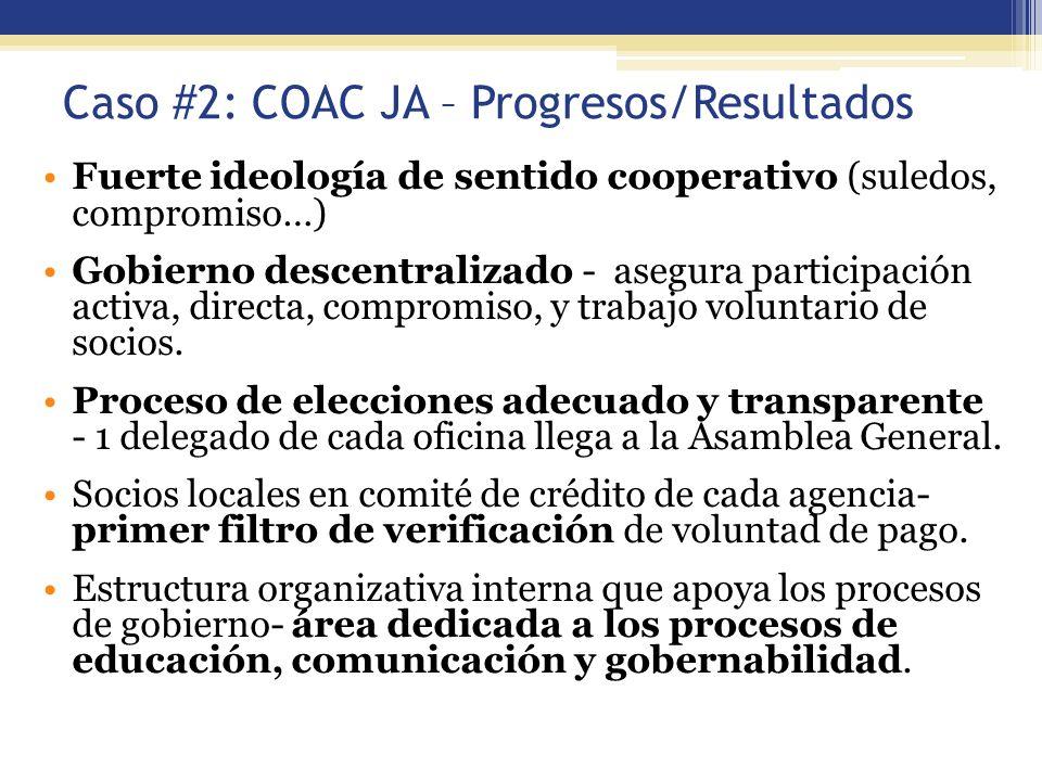 Caso #2: COAC JA – Progresos/Resultados
