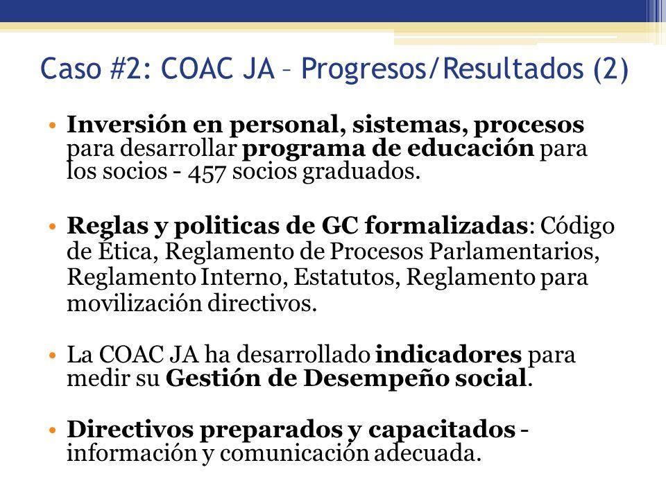 Caso #2: COAC JA – Progresos/Resultados (2)