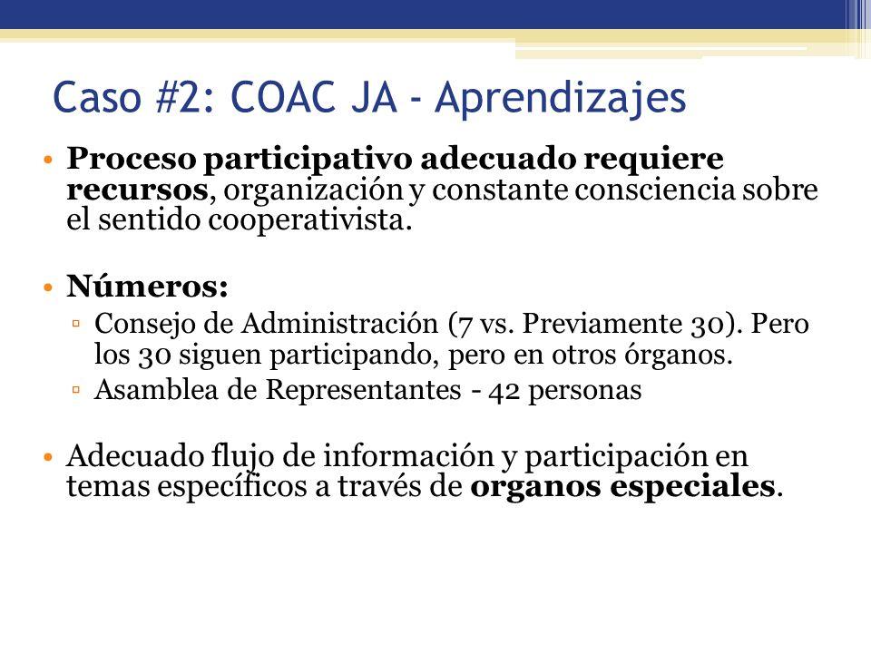 Caso #2: COAC JA - Aprendizajes