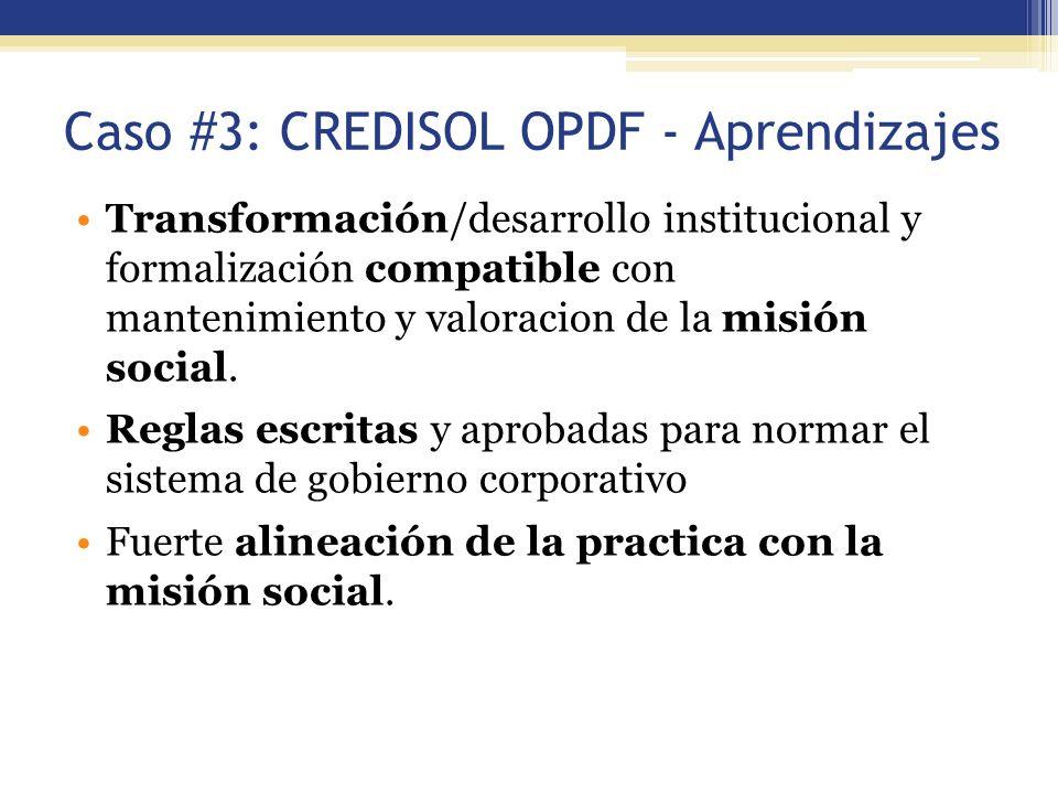 Caso #3: CREDISOL OPDF - Aprendizajes