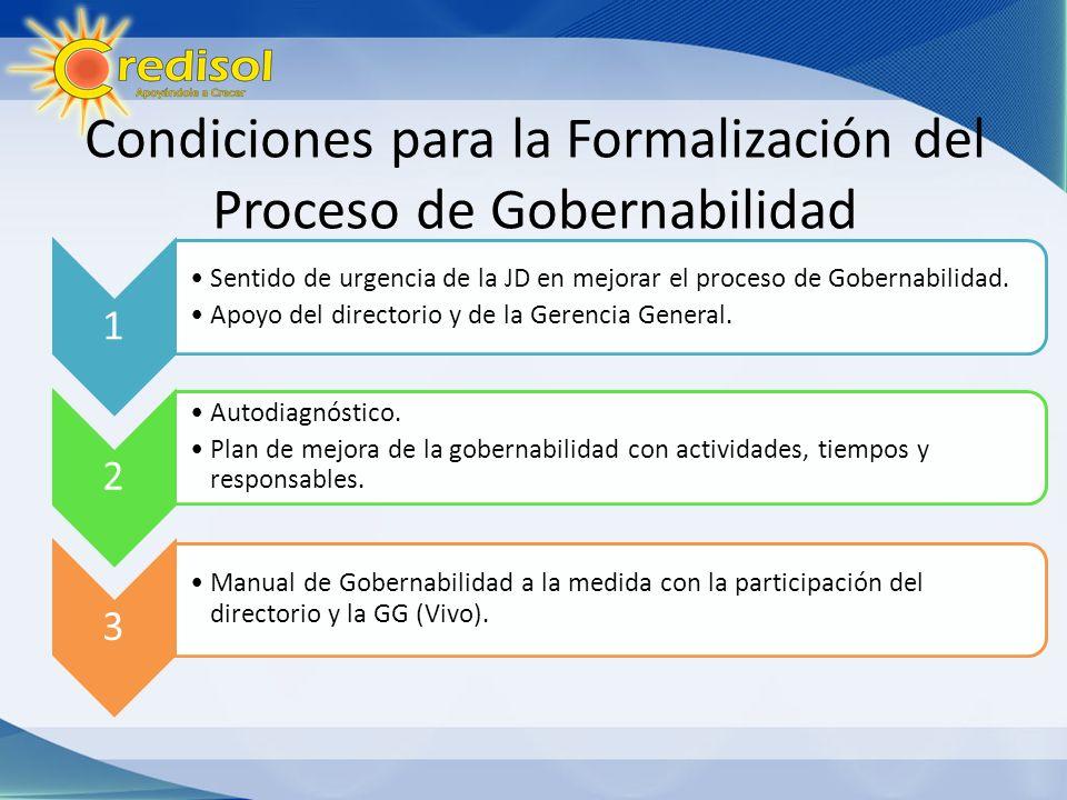 Condiciones para la Formalización del Proceso de Gobernabilidad