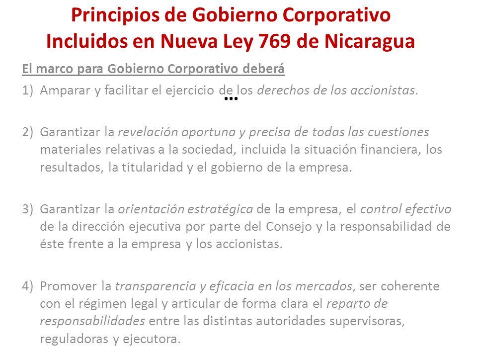 Principios de Gobierno Corporativo Incluidos en Nueva Ley 769 de Nicaragua …