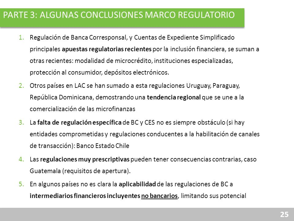 Parte 3: ALGUNAS Conclusiones marco regulatorio