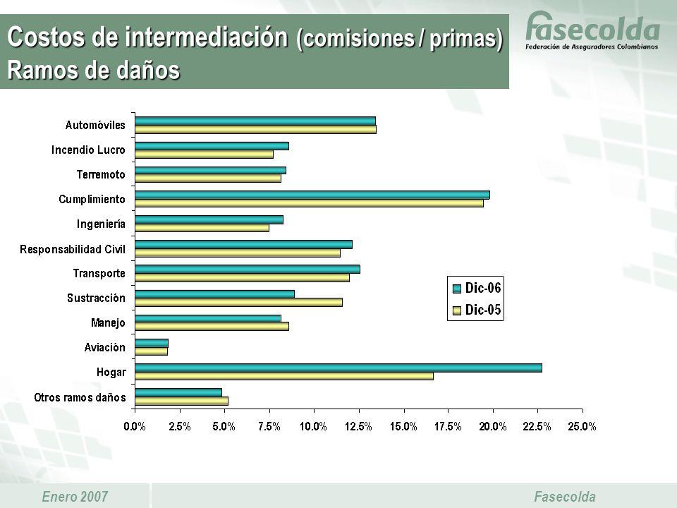 Costos de intermediación (comisiones / primas) Ramos de daños