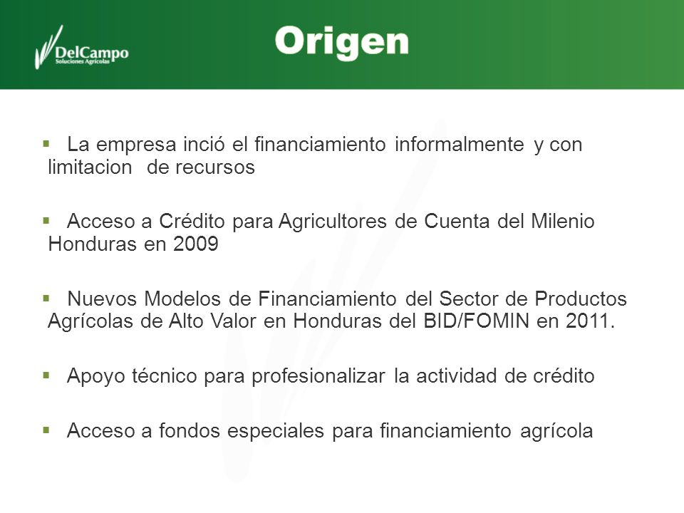 Origen La empresa inció el financiamiento informalmente y con limitacion de recursos.