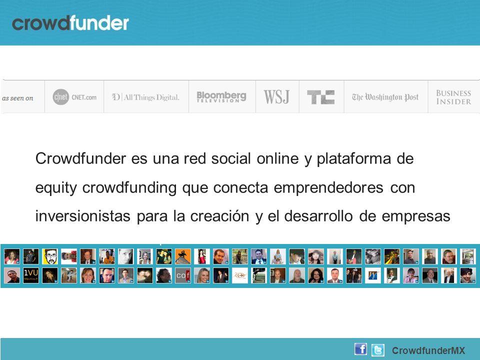 Crowdfunder es una red social online y plataforma de equity crowdfunding que conecta emprendedores con inversionistas para la creación y el desarrollo de empresas