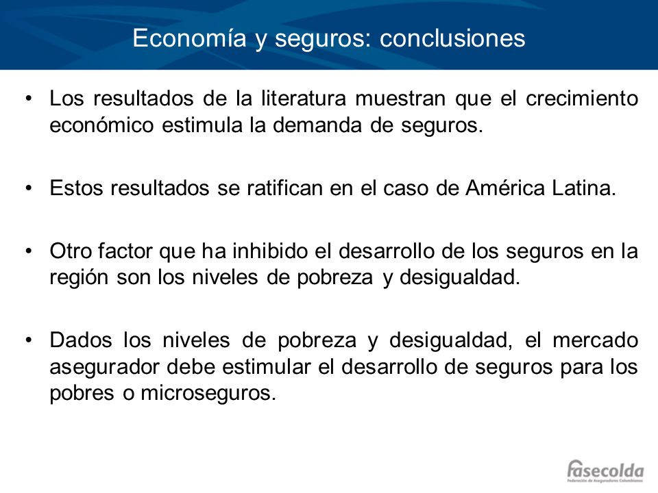 Economía y seguros: conclusiones