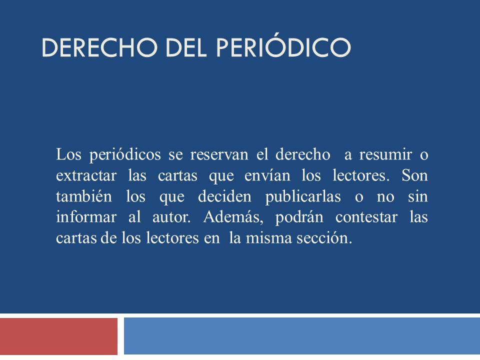 DERECHO DEL PERIÓDICO