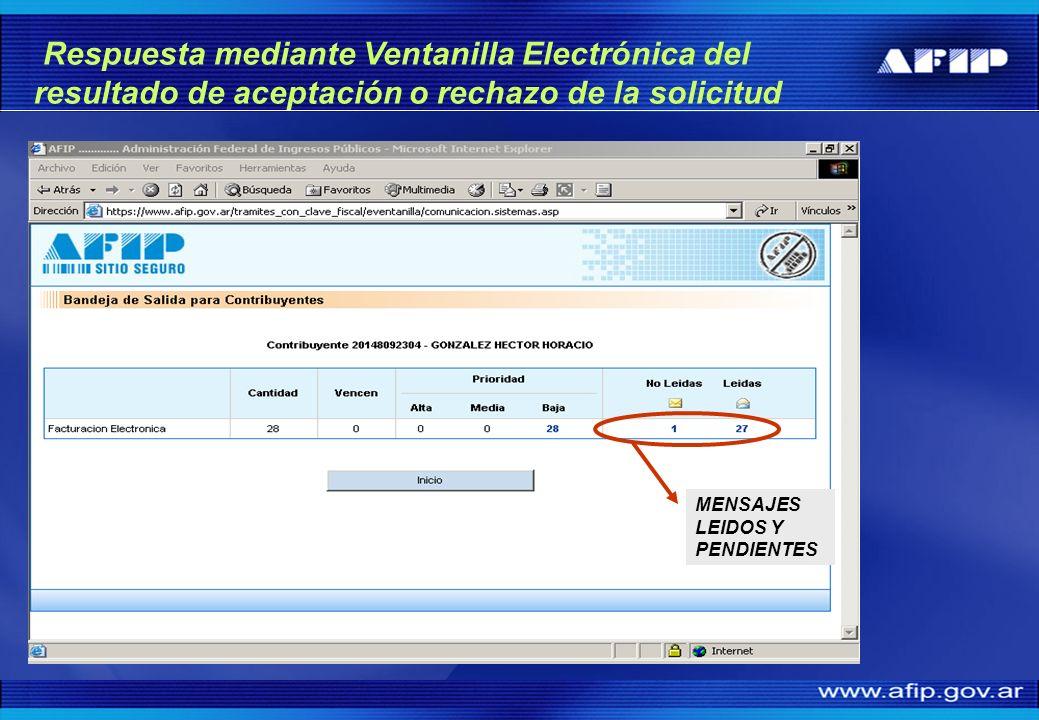 Respuesta mediante Ventanilla Electrónica del resultado de aceptación o rechazo de la solicitud