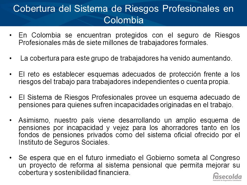Cobertura del Sistema de Riesgos Profesionales en Colombia