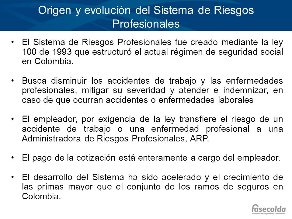 Origen y evolución del Sistema de Riesgos Profesionales