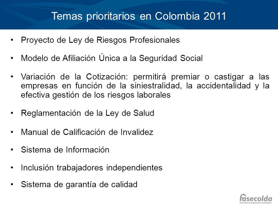 Temas prioritarios en Colombia 2011