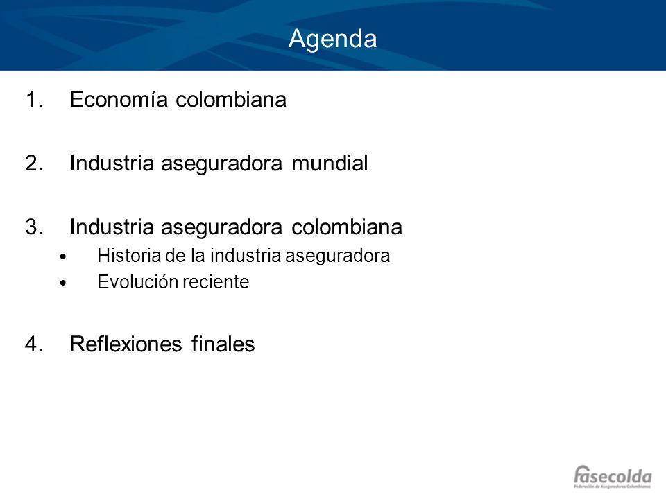 Agenda Economía colombiana Industria aseguradora mundial