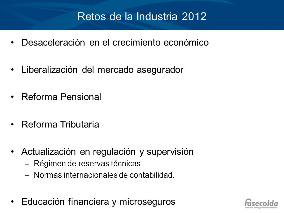 Retos de la Industria 2012 Desaceleración en el crecimiento económico