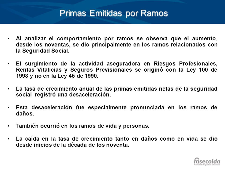 Primas Emitidas por Ramos