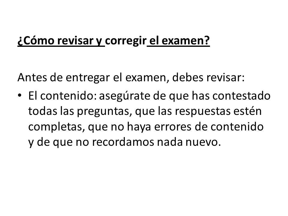 ¿Cómo revisar y corregir el examen