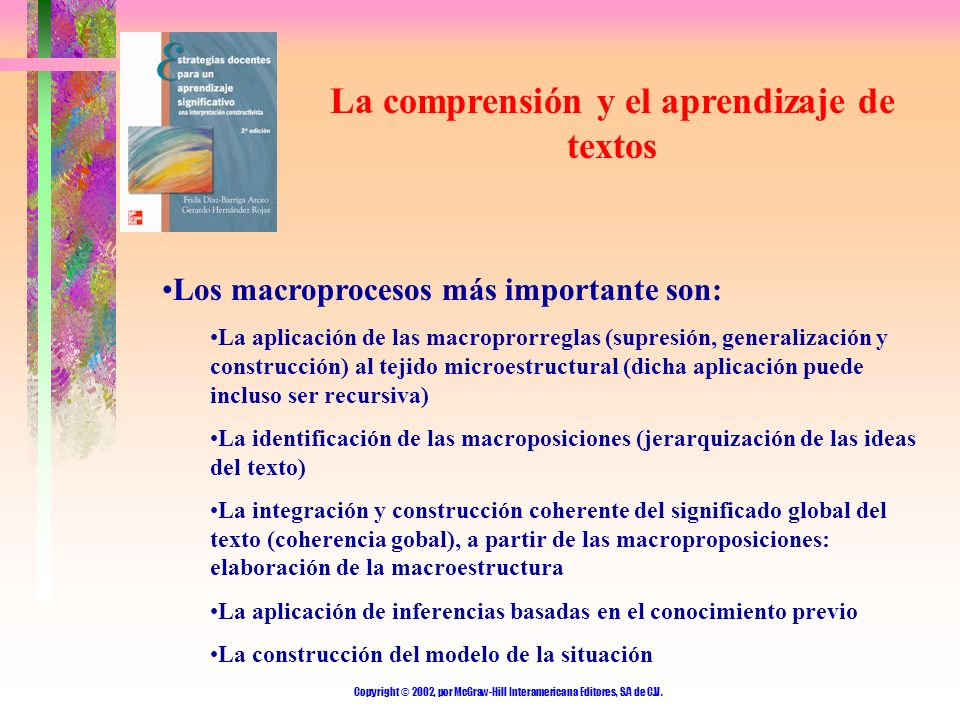 La comprensión y el aprendizaje de textos